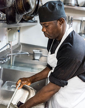 Use Splash Paddy When Working in Restaurant Kitchen